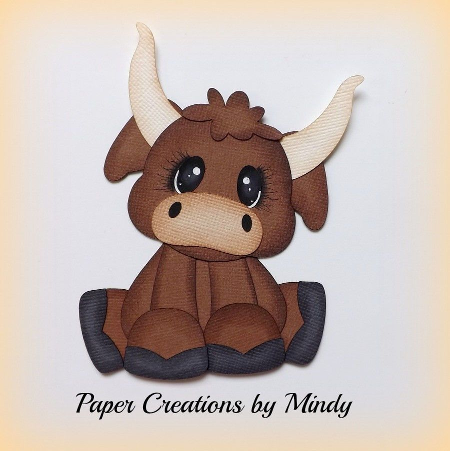 Craftecafe mindy farm animal bull outdoors premade paper for Pre punched paper for crafts
