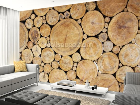 Large Stacked Logs Wallpaper Wall Mural Wallsauce Uk Log Wallpaper Wall Murals Log Wall