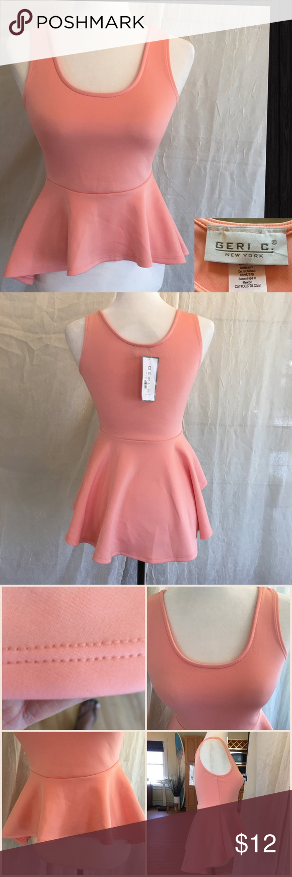 NWT Geri C Peplum Tank Top in Peach Sz Sm Flattering top with U shaped neckline that hugs just right. Bottom is enhanced by the Hi-Lo flouncy peplum with double stitching. This top is well made and simple but flattering. 90% polyester 10% spandex. NWT Geri C New York Tops Tank Tops
