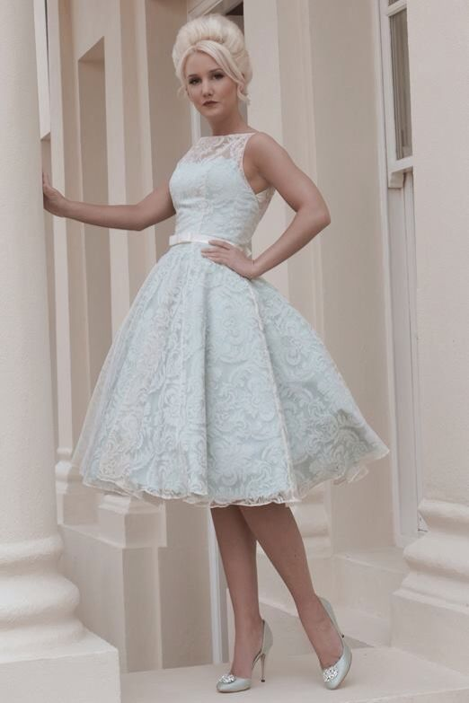 Duck egg blue 50s style lace vintage wedding dress. | Hochzeitskleid ...