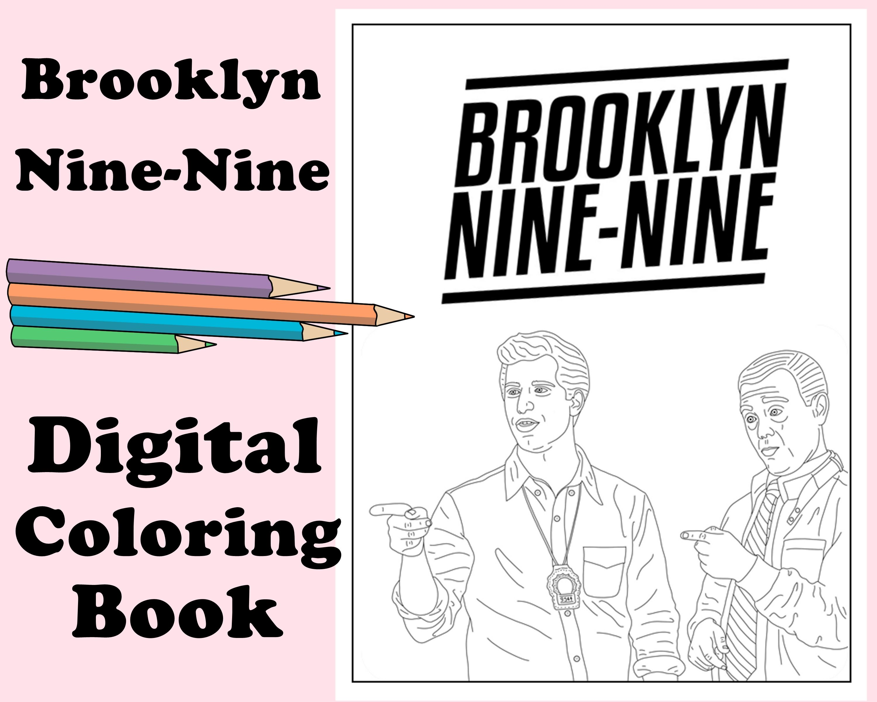 Brooklyn Nine Nine Digital Coloring Book Instant Print Pdf Travel Or Rainy Day Activity Secret Santa Gift Art Therapy Coloring Pages In 2021 Coloring Books Brooklyn Nine Nine Coloring Pages