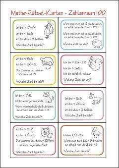 Zahlenrätsel-Karten - Zahl Gesucht - Rechnen im Zahlenraum 100 ...