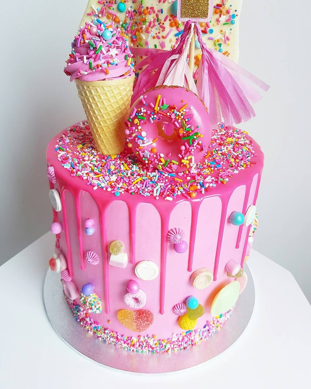 Pink candy cake Candy birthday cakes, 6th birthday