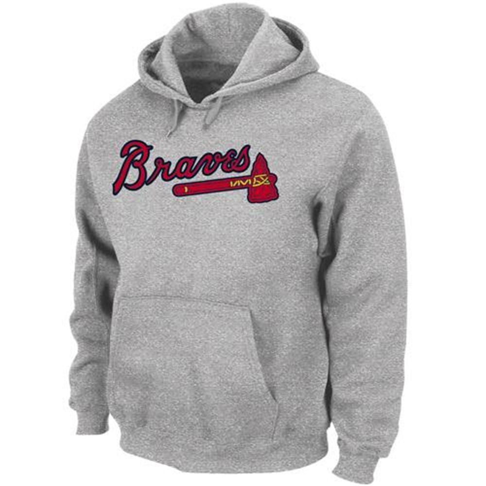 Majestic Atlanta Braves 300 Hitter Pullover Hoodie Ash Hoodies Hoodies Womens Sweatshirts