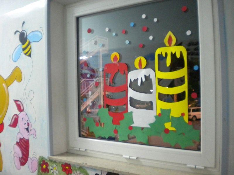 Risultati immagini per decori finestre natalizie for Addobbi natale scuola infanzia