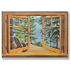@Overstock.com - Cabin/ Lake View Window Scene - A compelling lithograph designed to enhance privacy while providing an interesting view, this faux window scene features a cabins porch with an Adirondack chair, a lake, and a canoe. Sure to inspire daydreaming, it makes an undesirable view disappear.  http://www.overstock.com/Home-Garden/Cabin-Lake-View-Window-Scene/6330461/product.html?CID=214117 $59.99