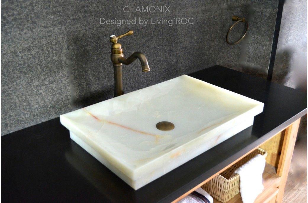 24 White Onyx Stone Bathroom Vessel Drop In Sink Chamonix