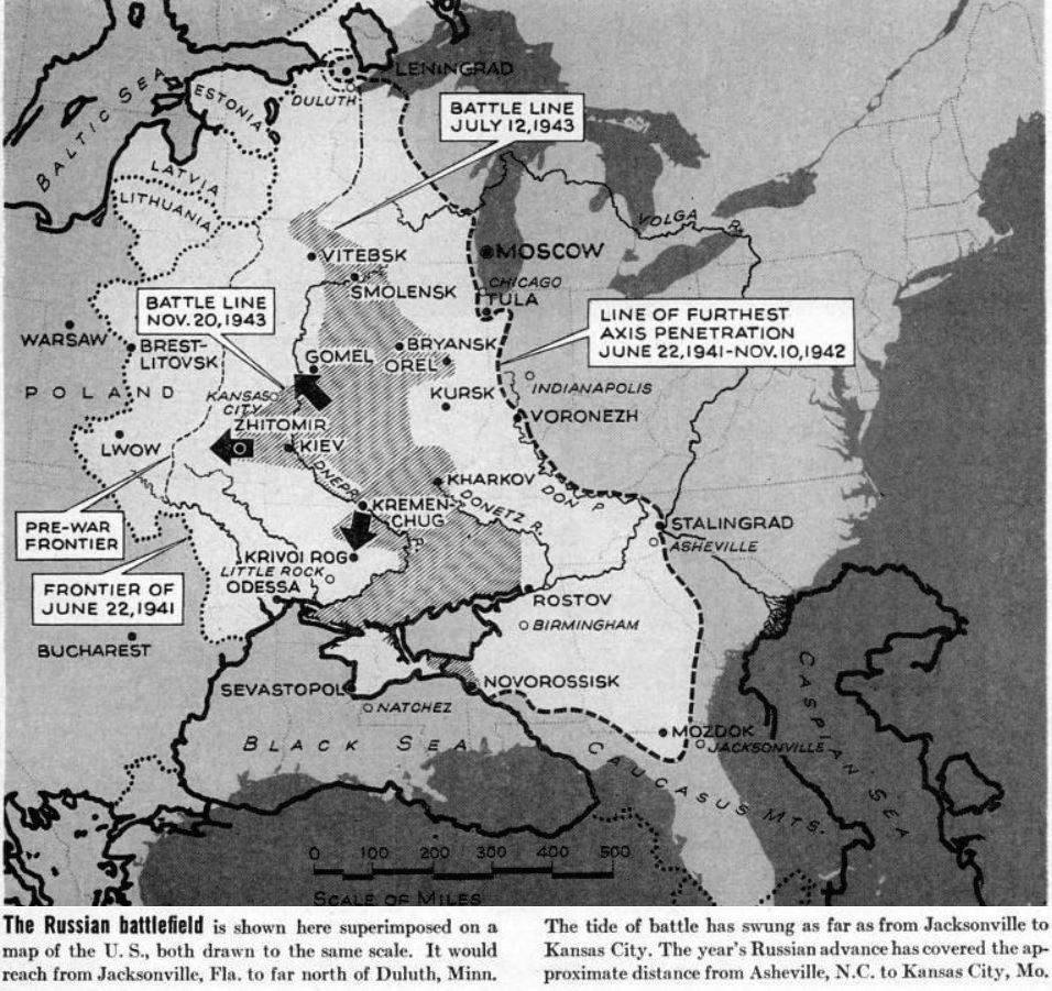 Comparison Of Ww2 Russian Front With Us Map Overlaid For Scale - Us-front-map