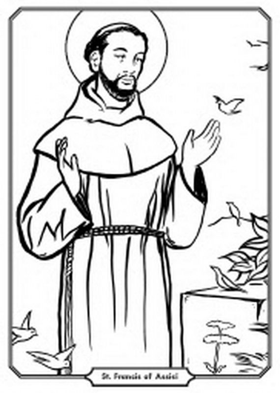 St Francis Of Assisi Coloring Pages For Catholic Kids Saints