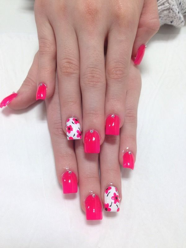 Pretty Pink Nails Adorable Flowers On White Nail Designs And