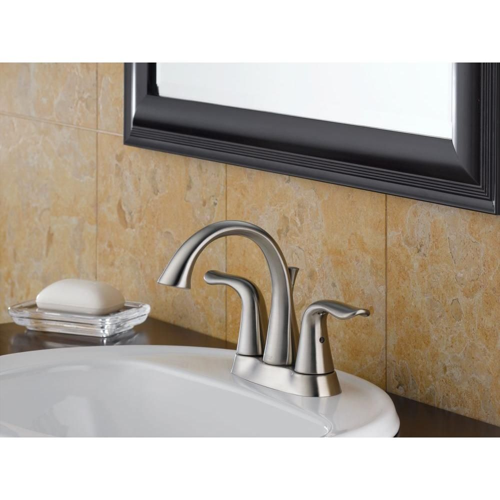 Delta Lahara 4 in. Centerset 2-Handle High Arc Bathroom Faucet in ...