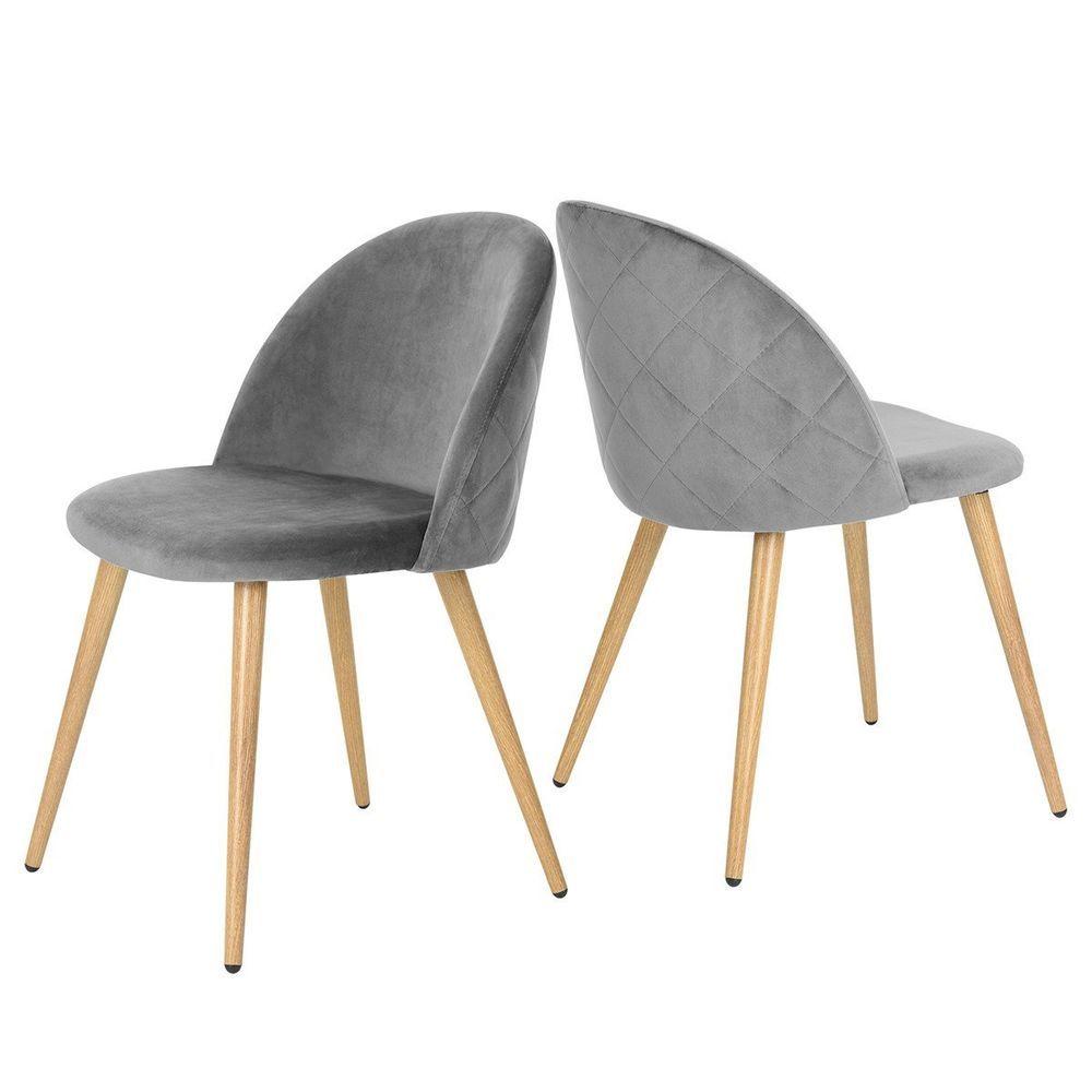vintage retro velvet chairs grey 2pc metal legs dining living room rh pinterest com