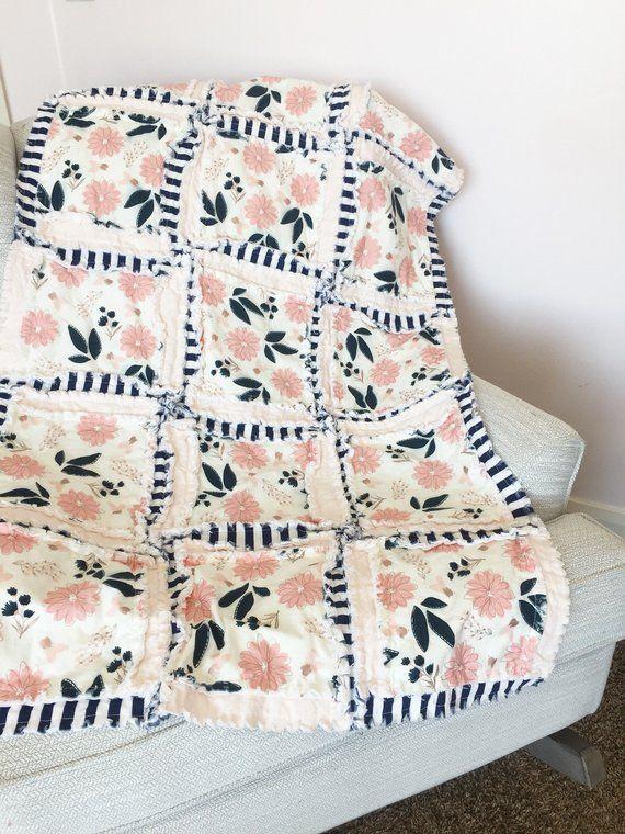 Photo of Vintage Floral Baby Girl Rag Quilt for Princess and Whimsical Boho Nursery Crib Bedding – Blush / Navy Blue Stripes / Rose Gold