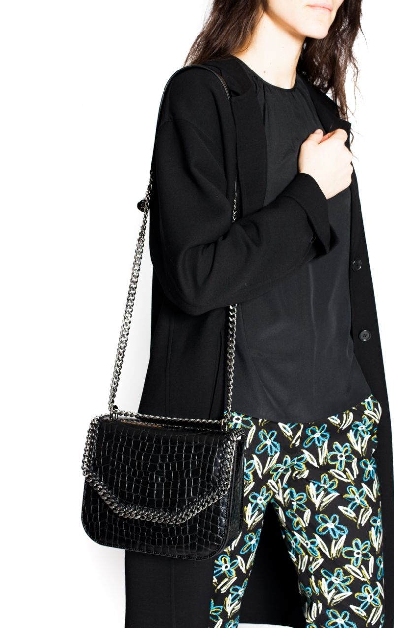 06539abfde Falabella Box shoulder bag from Stella McCartney The Falabella Box shoulder  bag in black alter crocodile is the new iconic bag designed by Stella  McCartney.