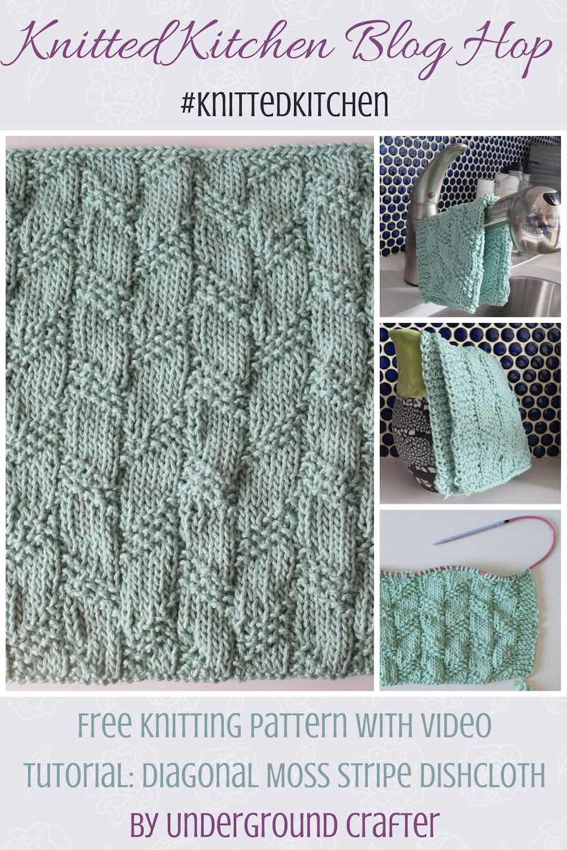 Diagonal Moss Stripe Dishcloth, free knitting pattern | Yarns ...