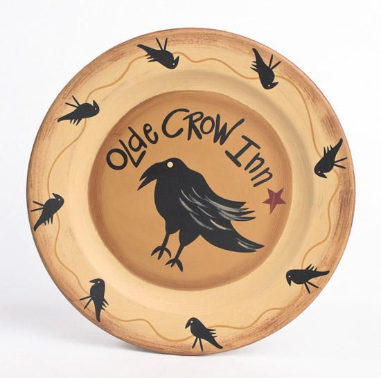 \ Olde Crow Inn\  Primitive Wooden Plate - Primitive Decor & free primitive images to paint on wood | ... Primitive Wooden Plate ...