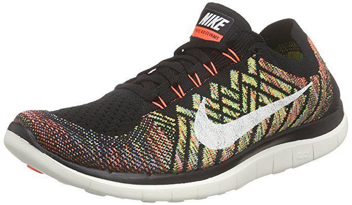 Nike Free 4 0 Flyknit Running Shoe Black Sail Hyper Orange Blue 11 Running Shoes For Men Nike Free Nike Free Flyknit