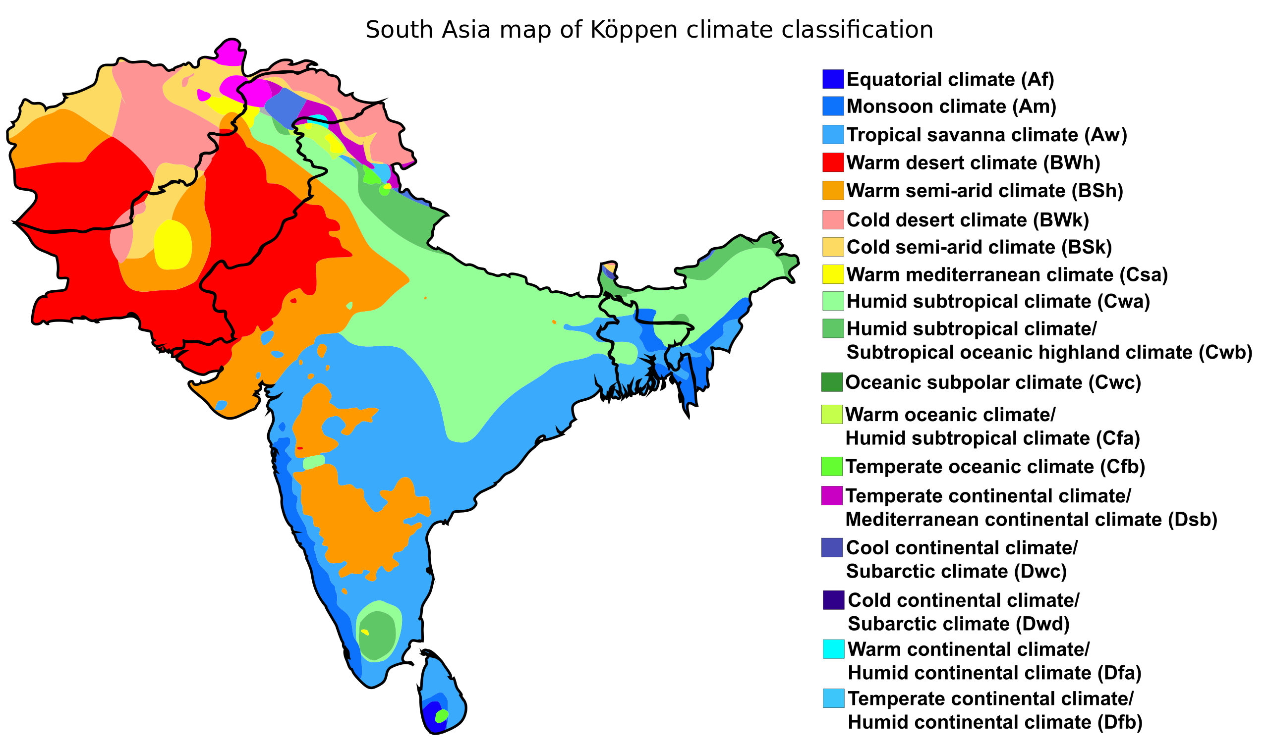 South Asia map of Köppen climate classification Climate