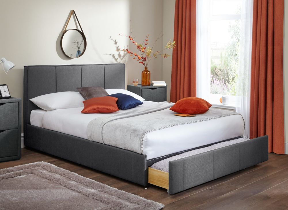 279 With stunning grey fabric upholstery the Cruz bed frame is on
