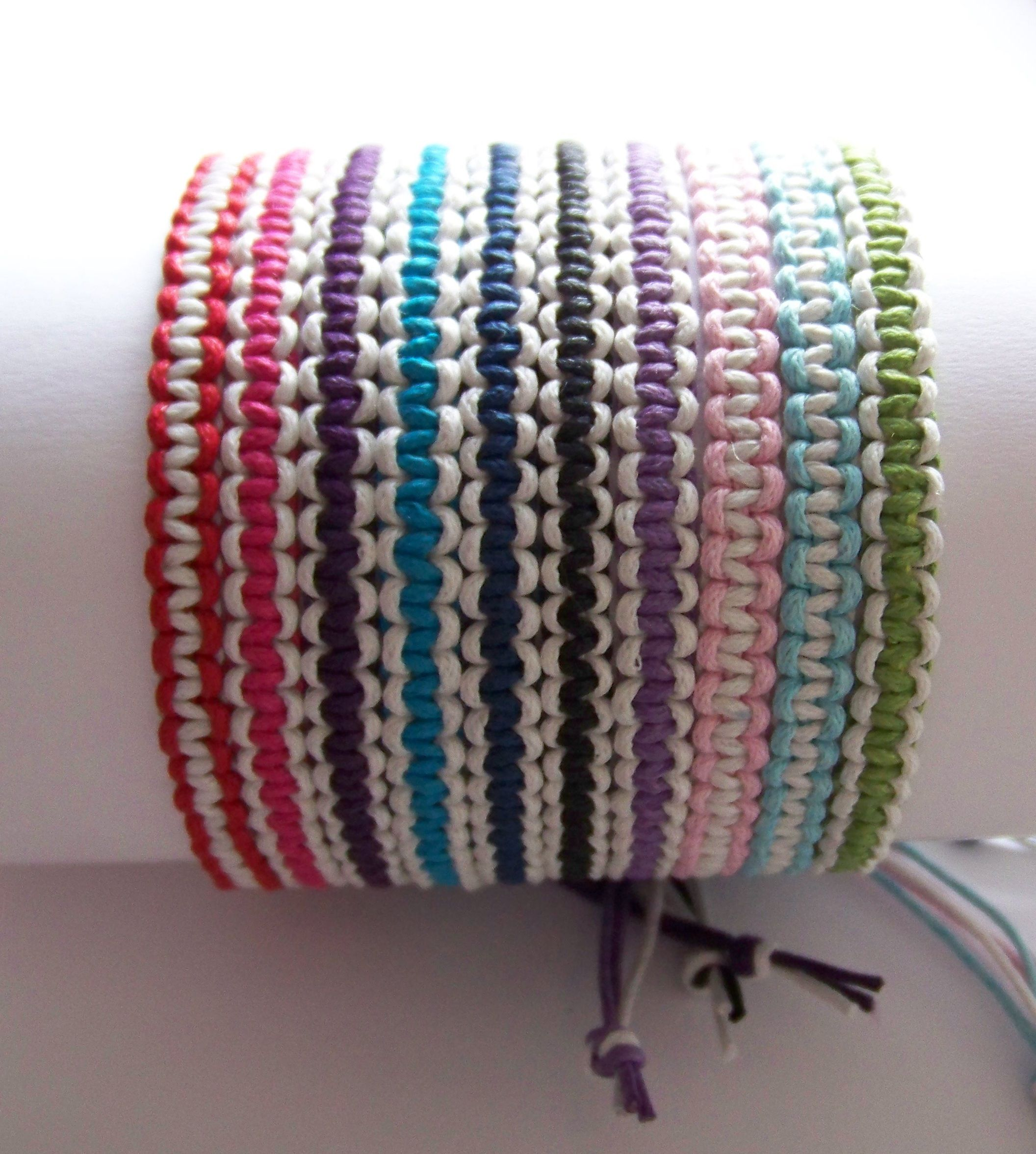 Two Color Friendship Bracelets Made Using 1mm Waxed Cord