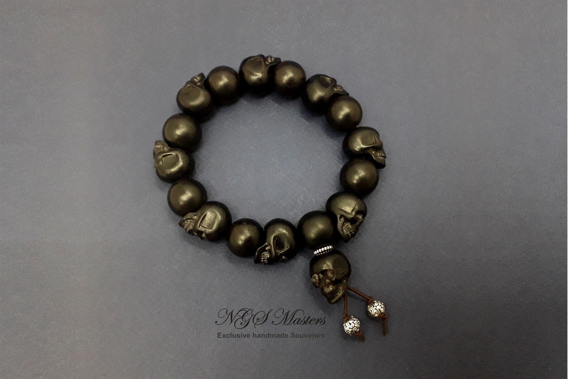 Black skull little rosary bracelet is made of black wood my