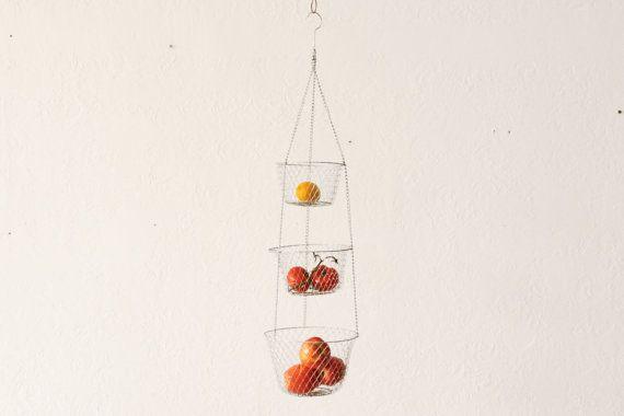 Hanging Basket Three Tier Kitchen Wire Fruit by OTHERTIMESvintage, $25.00