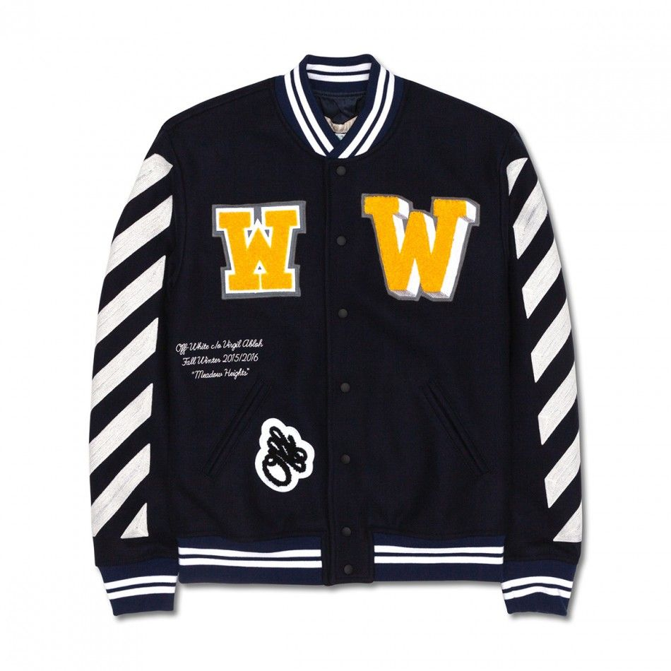 b6f3d7a0a10d Off-White Letterman Jacket With Patches Dark Blue from the Fall Winter 2015  Collection