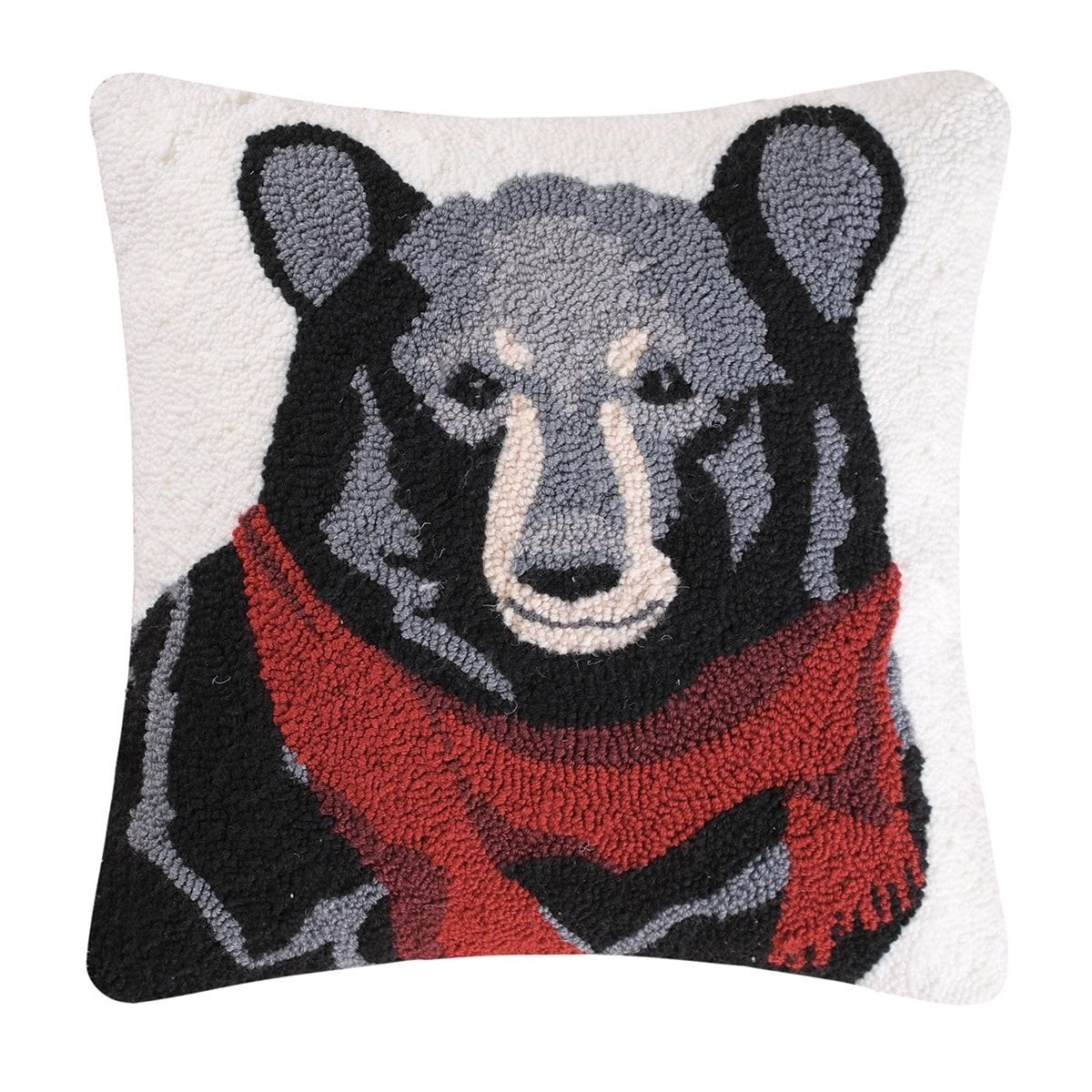 Enterprises Welcome Friends Black Bear Lodge Hooked Pillow 19x19 ...