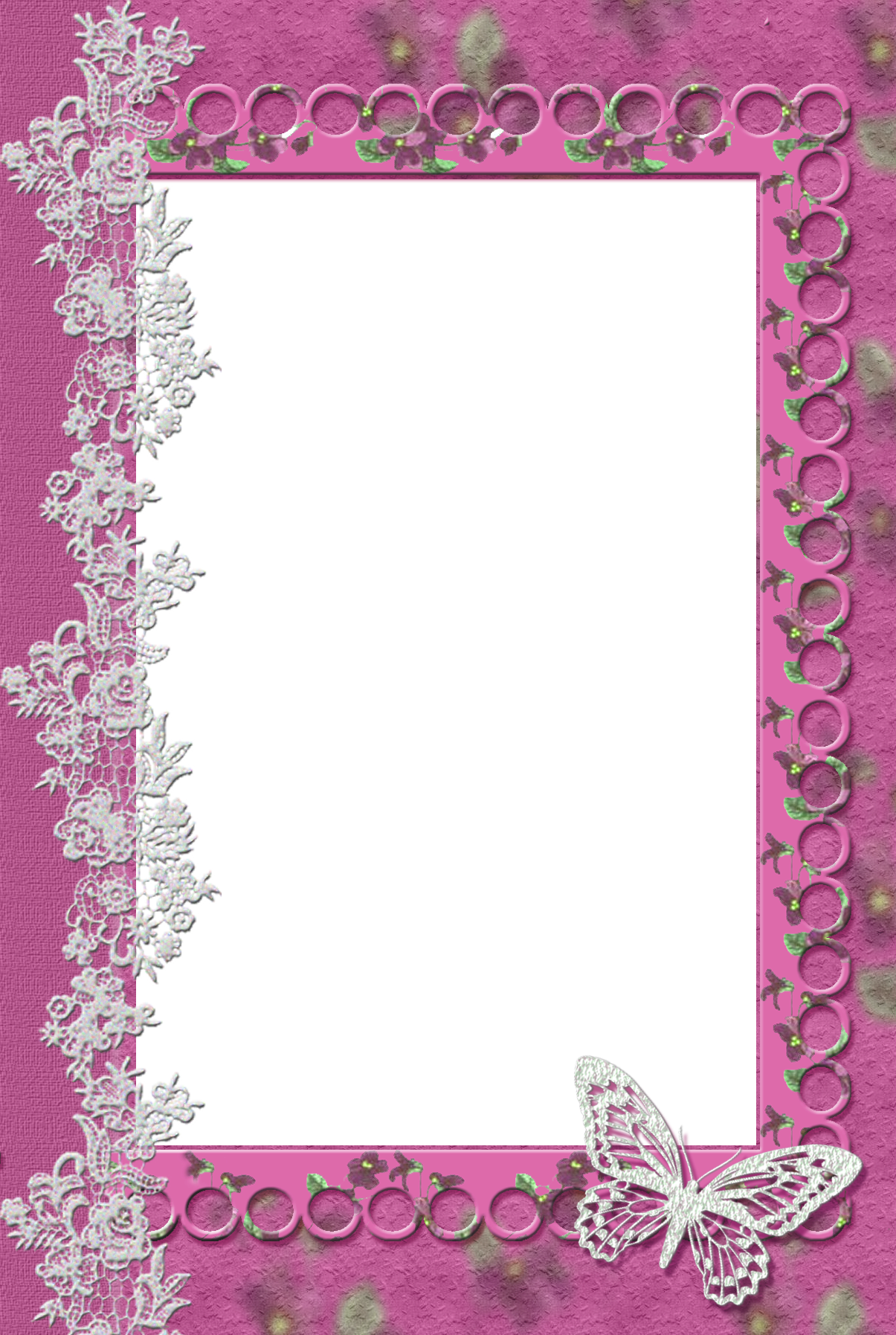 Pink Transparent Frame with Lace Butterfly | Frames ...