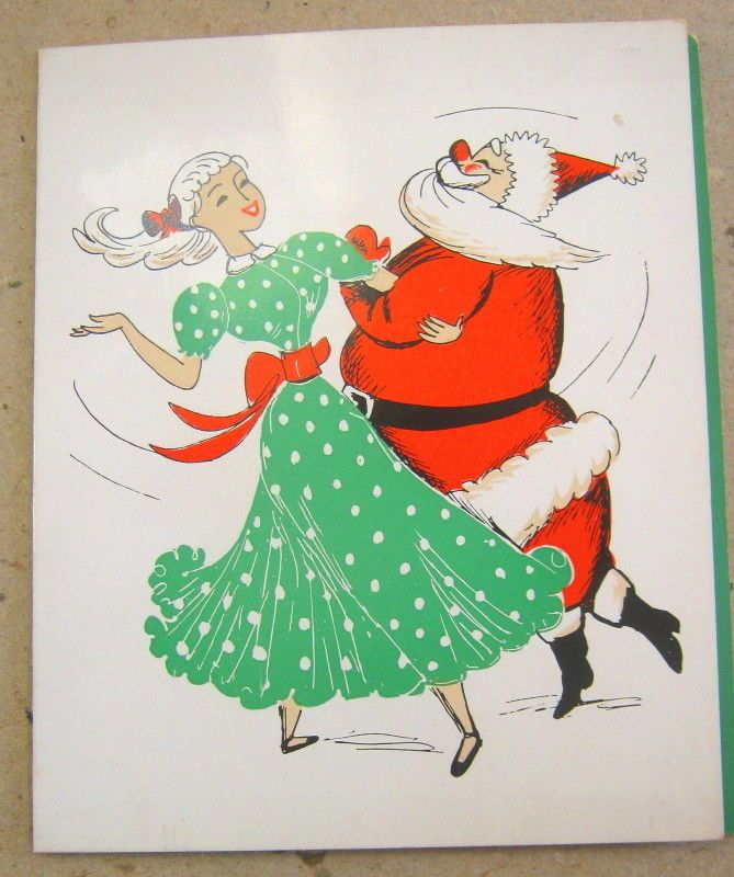 Vintage Christmas Holiday card, Santa Square Dance Dancing, 1960s ...