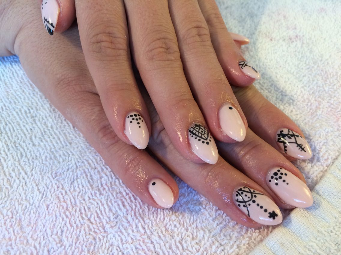 Pink almond nails with black detail hand painted | My work | Pinterest