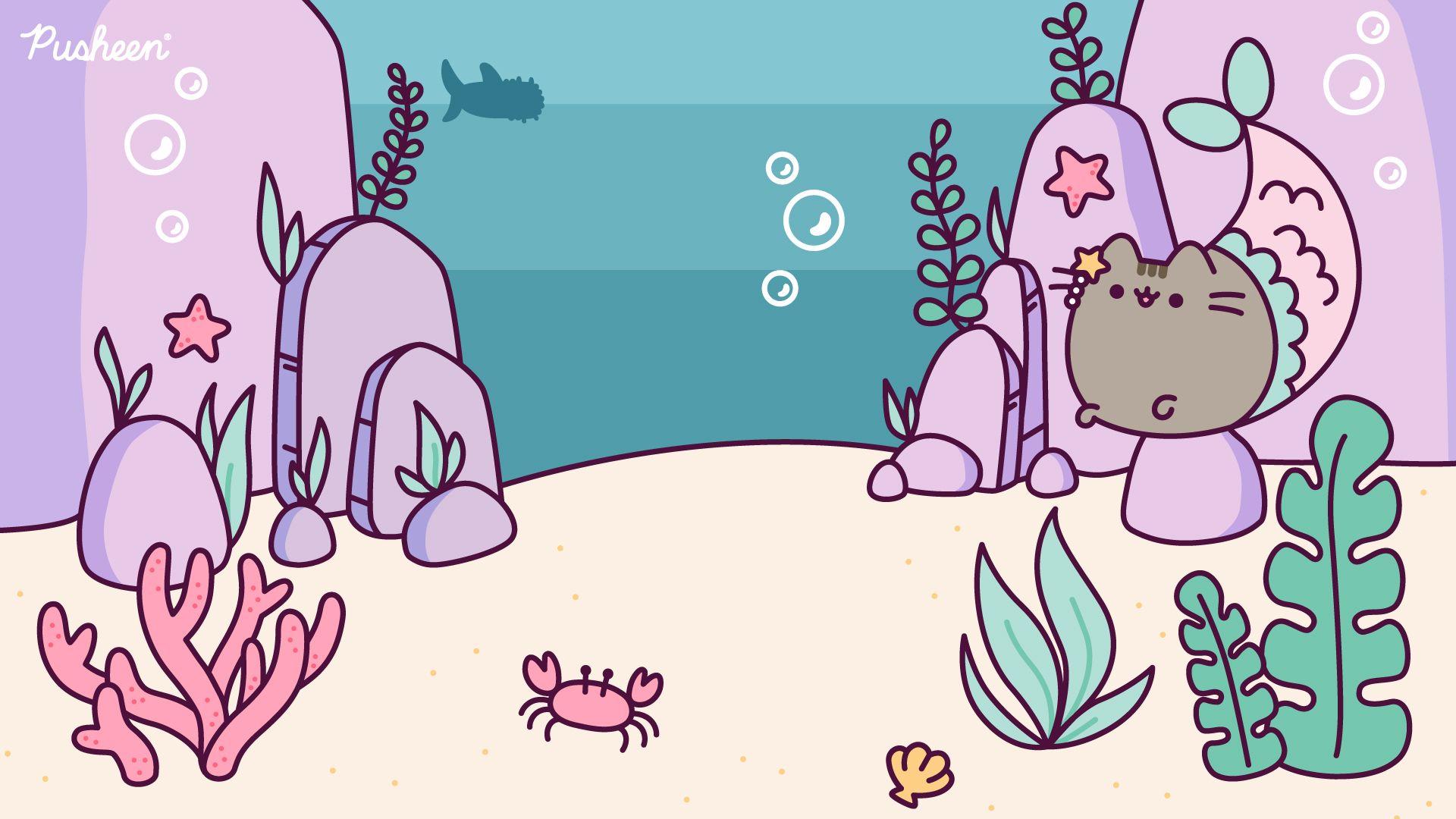 Pusheen Zoom Backgrounds Pusheen Pusheen Cat Mermaid Pusheen Cute Cute Desktop Wallpaper