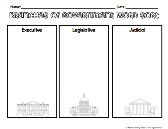 Branches Of Government Activities Teaching Reading