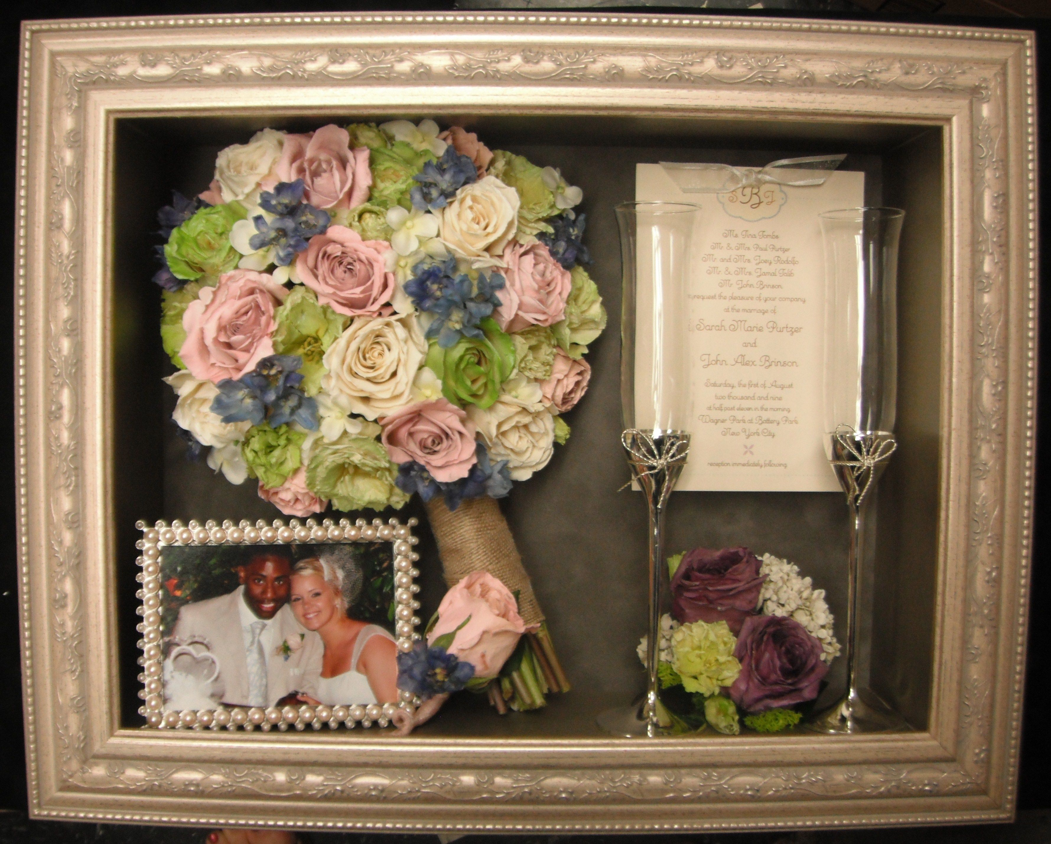 freeze dried wedding bouquet flowers in our custom shadow box. Black Bedroom Furniture Sets. Home Design Ideas