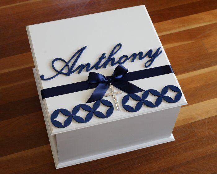 Navy Blue Christening Keepsake Box