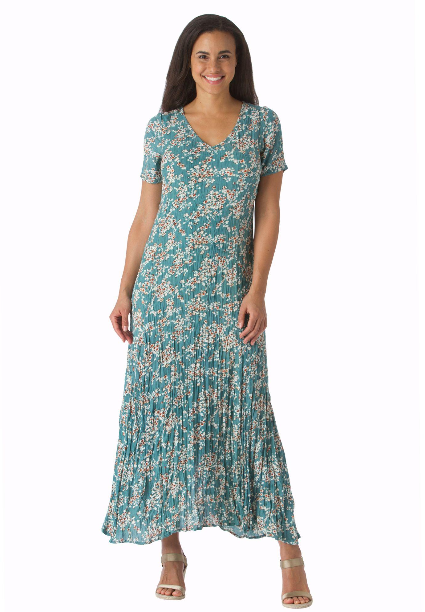 94898ec2ae2 Short sleeve crinkle dress