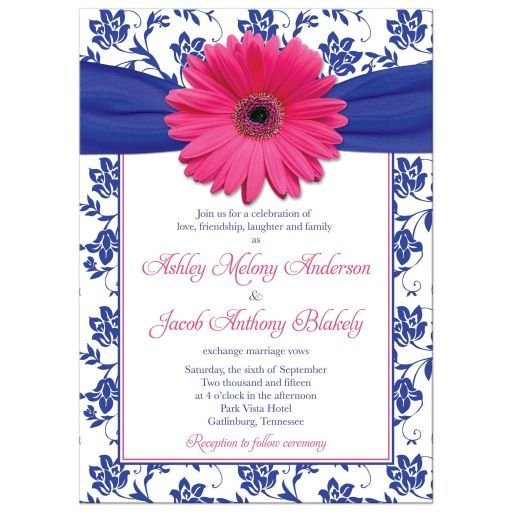 Wedding Invitation Pink Gerber Daisy Damask Royal Blue Hot Pink Daisy Wedding Invitations Sunflower Wedding Invitations Damask Wedding Invitation