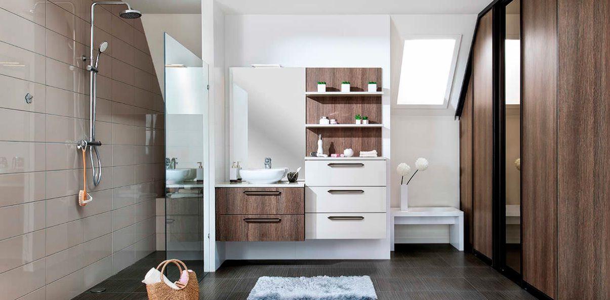 Contemporary wood veneer bathroom in oak finish bathroom