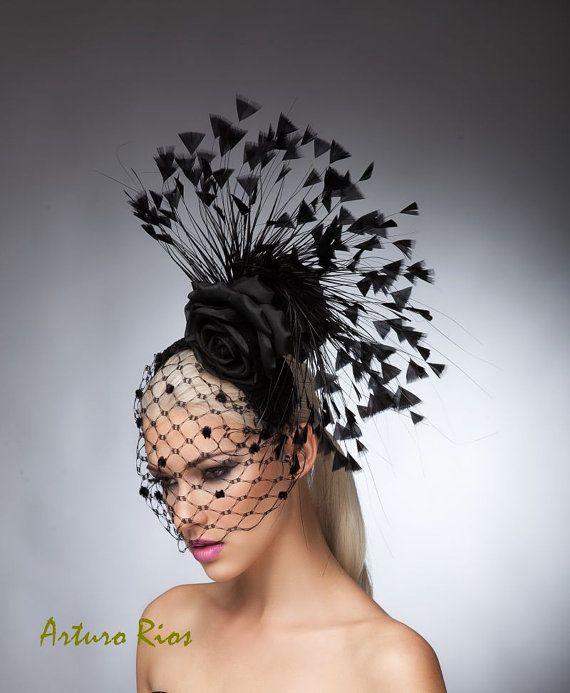 Black Couture Fascinator Kentucky derby hat cocktail by ArturoRios Sombreros 3804f367576