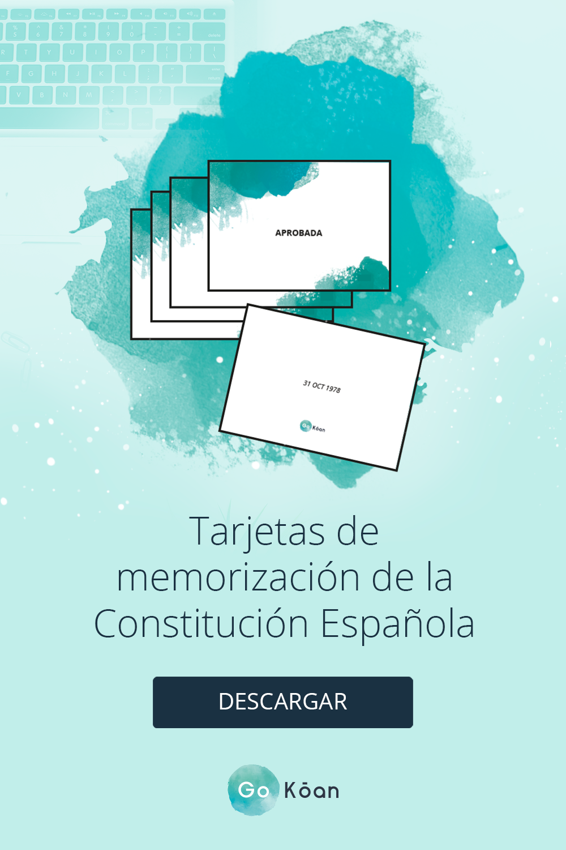 Tarjetas De Memorización De La Constitución Española Memorización Constitucion Oposicion