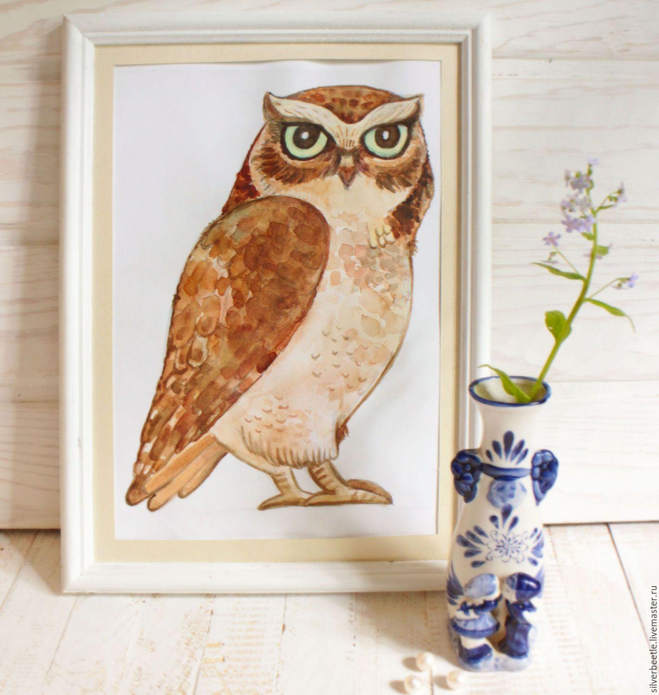Купить Сказочная картина Почтовая сова - принт (по мотивам ...