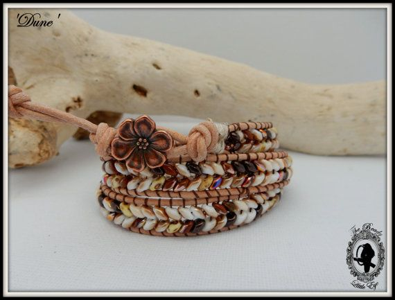 Wrap bracelet boho bracelet leather bracelet handmade gypsy bracelet copper blossom flower button festival jewelry summer jewelry DUNE, $30.00