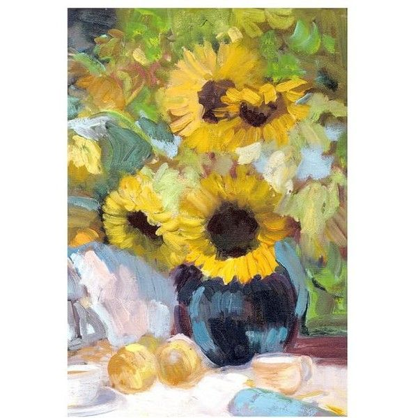 Pottery Barn Sunflowers with Peaches Canvas (445 CAD) ❤ liked on ...