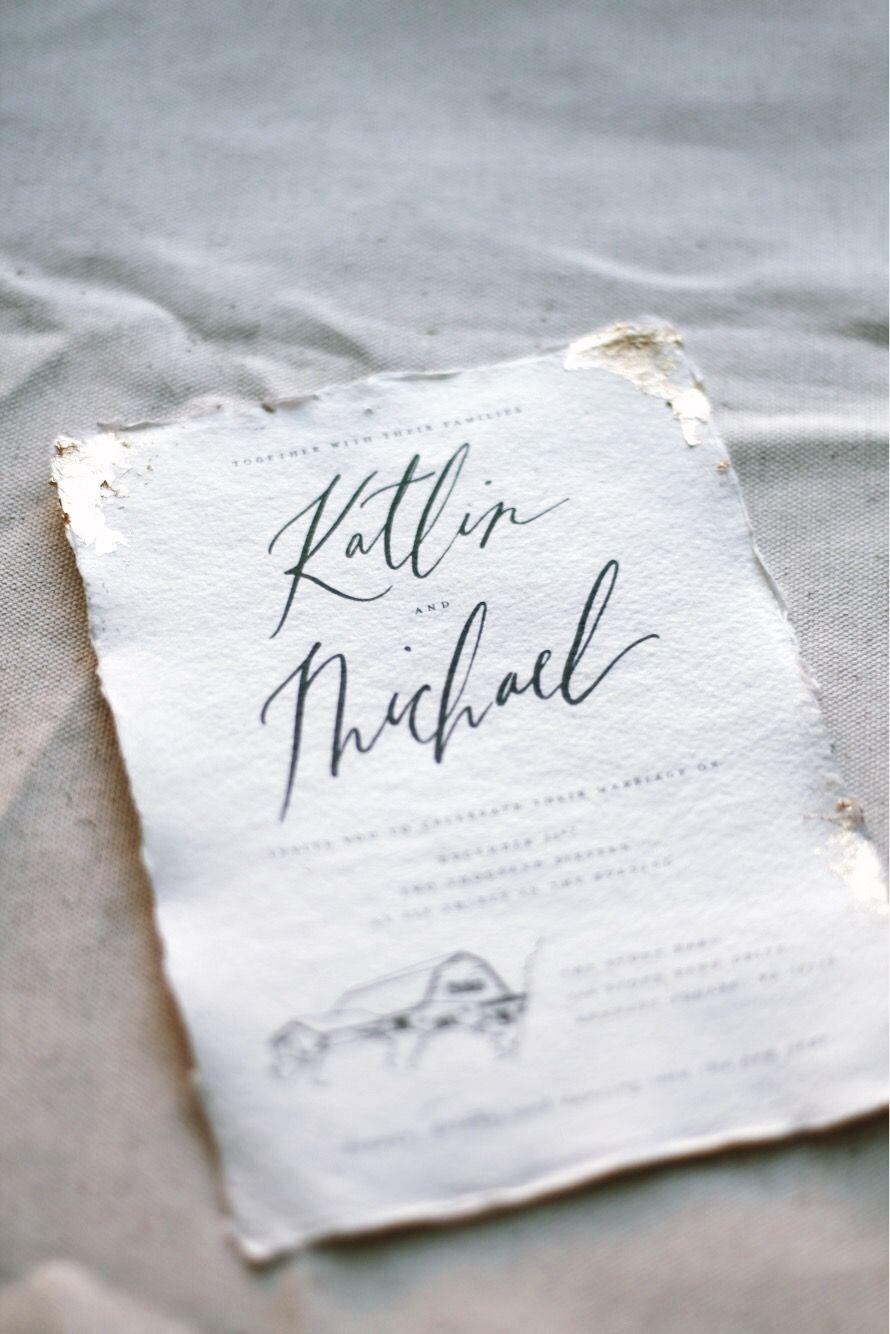 Lichen Ink | Gold Leaf, Modern Calligraphy, Handmade Paper, Wedding ...