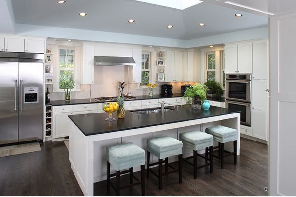 Amazing Contemporary Island In Sweet Kitchen With Low Chairs