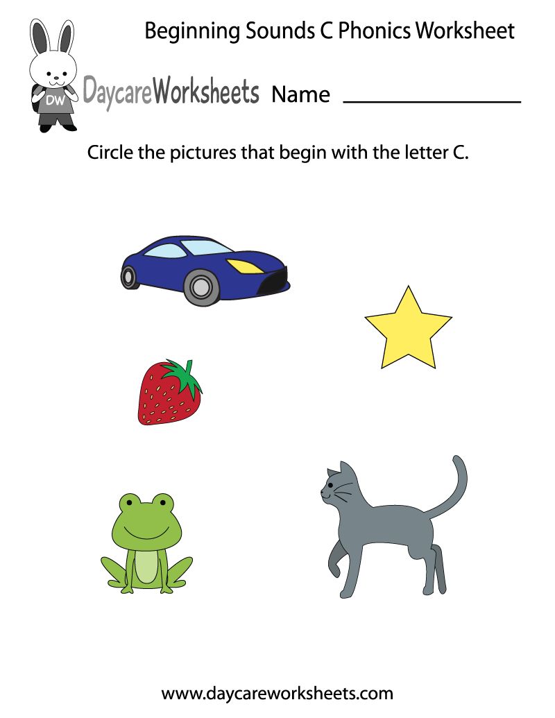 Worksheet Letter Sounds For Preschoolers this letter z phonics worksheet helps preschoolers identify the c beginning of common objects by sounding