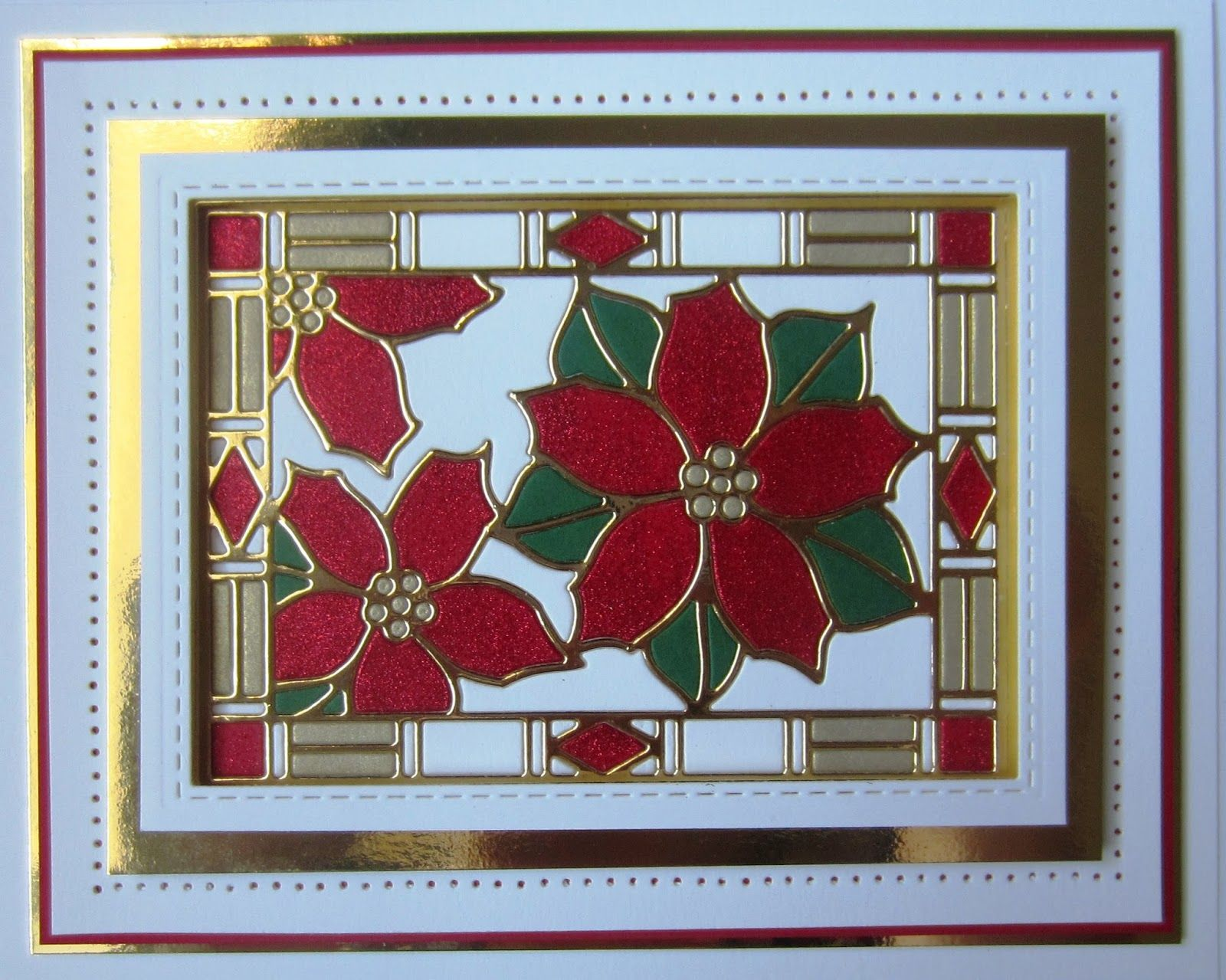 4 Red And Gold Poinsettia Christmas Die Cuts