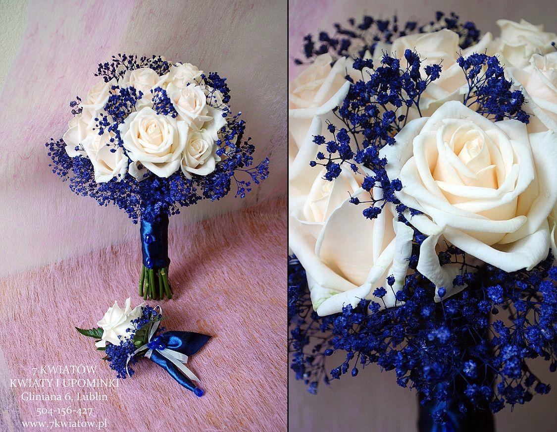 Bukiet Slubny Z Kremowych Roz I Farbowanej Kaszki Gipsowki Blue Wedding Bouquet Wedding Flowers Wedding Bouquets
