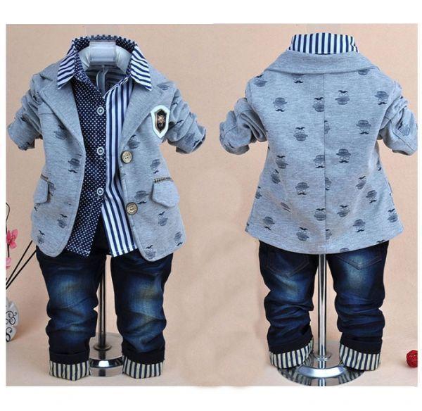 f3c0f71029 Blazer Menino + Camisa + Calças Jeans Totalmente Casual   Fashion - 3  Peças. Uma Gracinha.