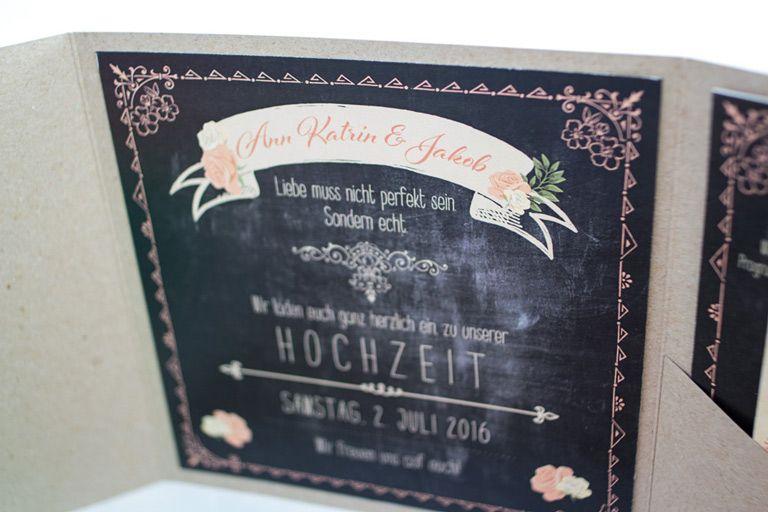 Einladung, Hochzeit, Hannover, HERZ Blatt Leibelt, Vintage, Creme, Schiefer